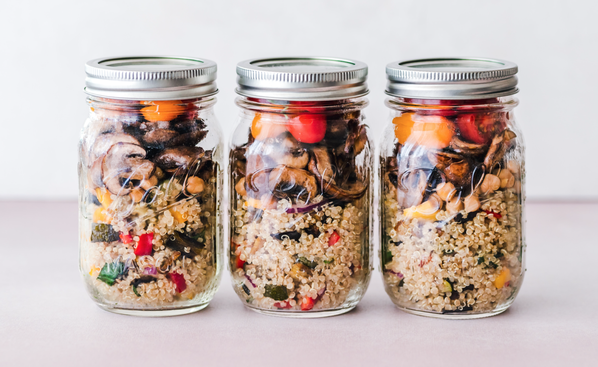 Healthy snack in mason jars